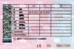 Водительское удостоверение обратная сторона